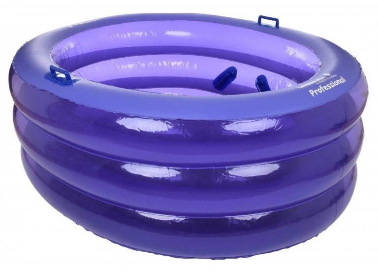 Paars La Bassine Maxi opblaasbaar bevalbad voor professionals in ziekenhuis of verloskundigen en doula's.