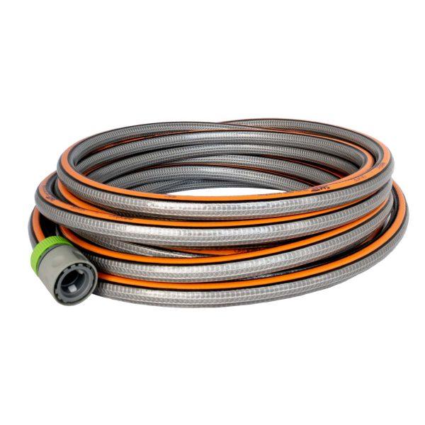 grijs-oranje aanvoerslang voor professioneel gebruik.
